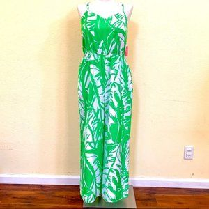 LILLY PULITZER JUMPSUIT ROMPER XS PALM WHITE GREEN